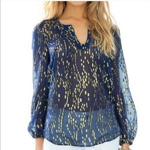 Lilly Pulitzer Navy Gold Tunic